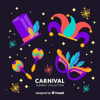 Conjunto de elementos coloridos carnaval