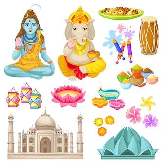 Conjunto de elementos coloridos da cultura indiana