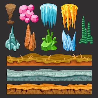 Conjunto de elementos coloridos da paisagem do jogo