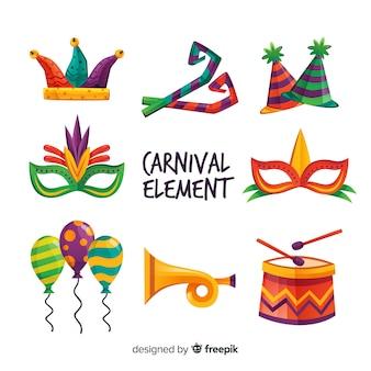 Conjunto de elementos coloridos de carnaval