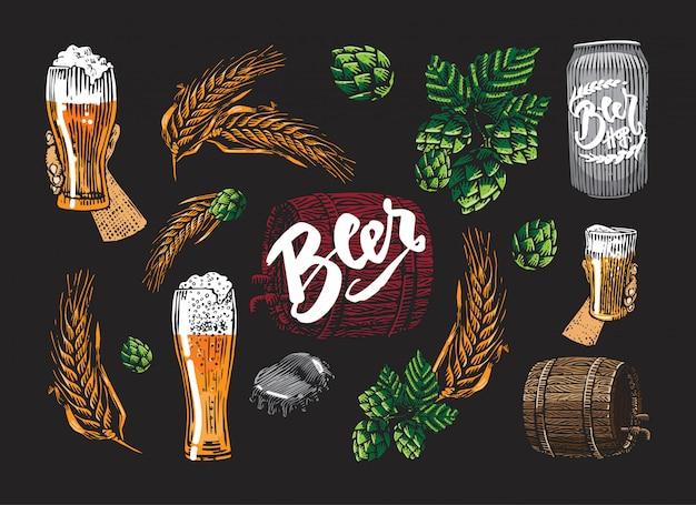 Conjunto de elementos coloridos de cerveja