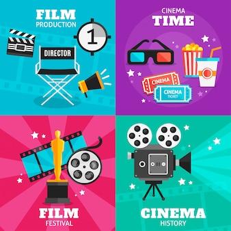 Conjunto de elementos coloridos de cinema