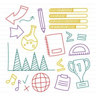 Conjunto de elementos coloridos de infográfico escolar