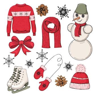 Conjunto de elementos coloridos de inverno mão desenhada. desgaste e acessórios tradicionais. ilustração.