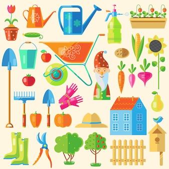Conjunto de elementos coloridos de jardim