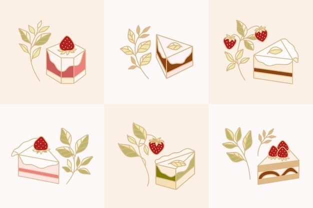 Conjunto de elementos coloridos de pastelaria, bolo e padaria