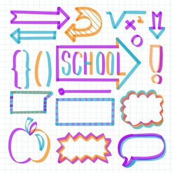 Conjunto de elementos coloridos do infográfico escolar