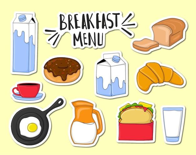 Conjunto de elementos coloridos do menu do café da manhã desenhados à mão