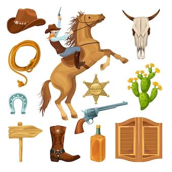 Conjunto de elementos coloridos do velho oeste