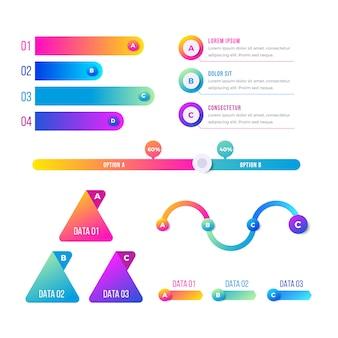 Conjunto de elementos coloridos e gradiente infográfico
