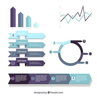 Conjunto de elementos coloridos infográfico em estilo simples