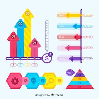 Conjunto de elementos coloridos infográfico