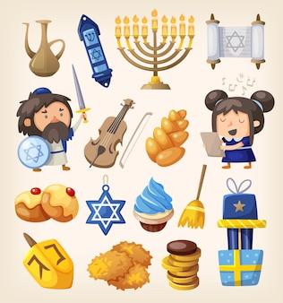 Conjunto de elementos coloridos para a celebração do hanukkah