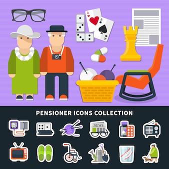 Conjunto de elementos coloridos planos de pensionista