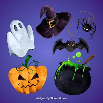 Conjunto de elementos da aguarela halloween