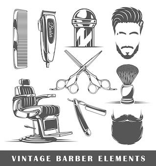 Conjunto de elementos da barbearia