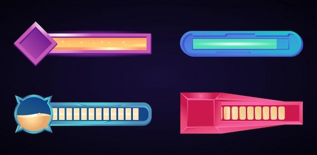 Conjunto de elementos da barra de interface do usuário do jogo