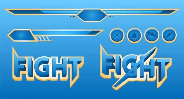 Conjunto de elementos da barra de jogo de ação