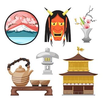 Conjunto de elementos da cultura japonesa antiga de design plano