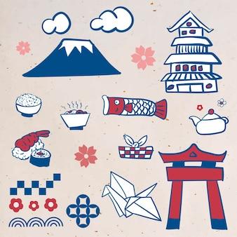 Conjunto de elementos da cultura japonesa