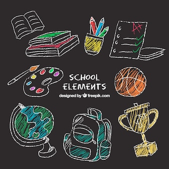 Conjunto de elementos da escola no estilo de quadro-negro