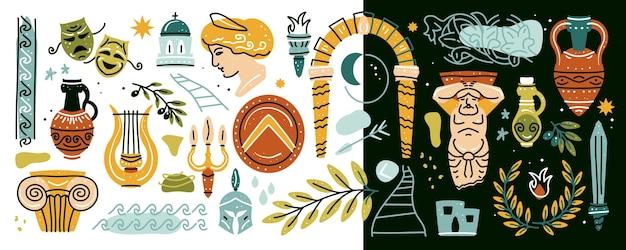 Conjunto de elementos da grécia antiga clássica antiga