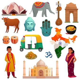 Conjunto de elementos da índia