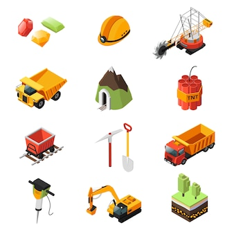 Conjunto de elementos da indústria de mineração isométrica