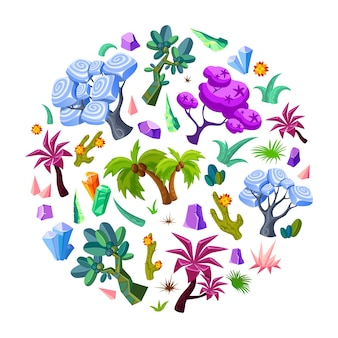 Conjunto de elementos da natureza do design do jogo