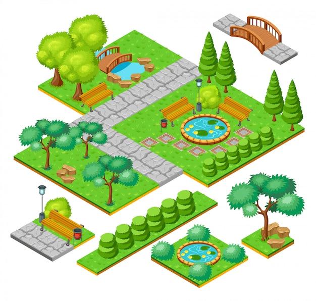 Conjunto de elementos da paisagem isométrica do parque da cidade
