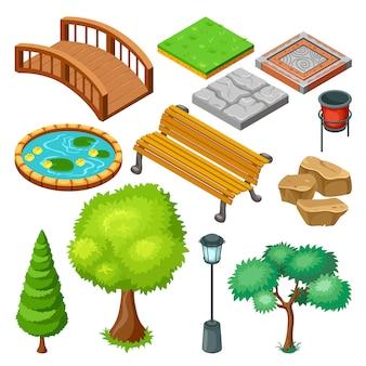 Conjunto de elementos da paisagem isométrica do parque de verão