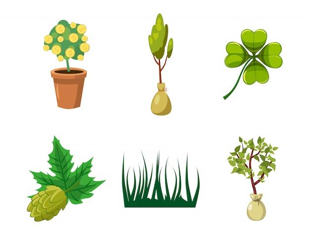 Conjunto de elementos da planta. caricatura, jogo, de, planta