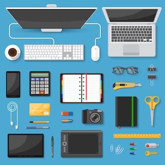 Conjunto de elementos da vista superior da área de trabalho