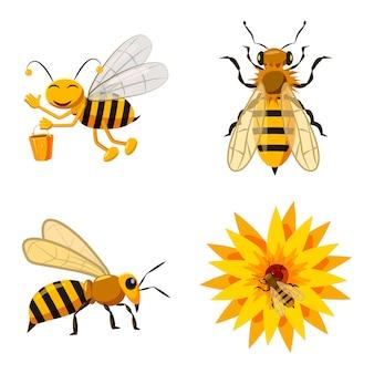 Conjunto de elementos de abelha. conjunto de desenhos animados de abelha