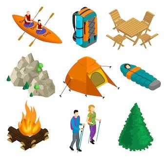 Conjunto de elementos de acampamento isométrico