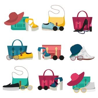 Conjunto de elementos de acessórios de moda