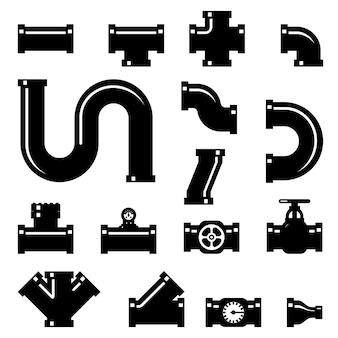 Conjunto de elementos de acessórios de tubulação.