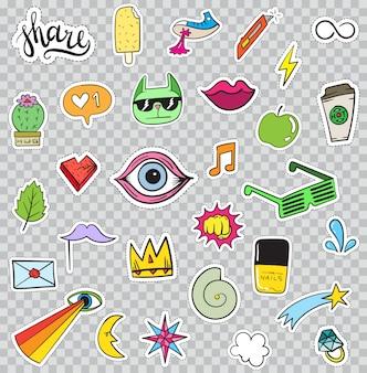 Conjunto de elementos de adesivos como flor, coração, coroa, nuvem, lábios, correio, diamante, olhos. desenhado à mão. coleção de adesivos na moda.