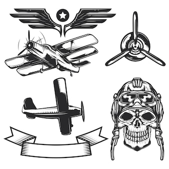 Conjunto de elementos de aeronaves para criar seus próprios emblemas, logotipos, etiquetas, pôsteres etc.