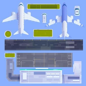 Conjunto de elementos de aeroporto ilustrado