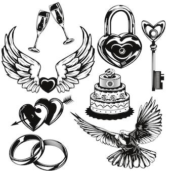 Conjunto de elementos de amor e casamento