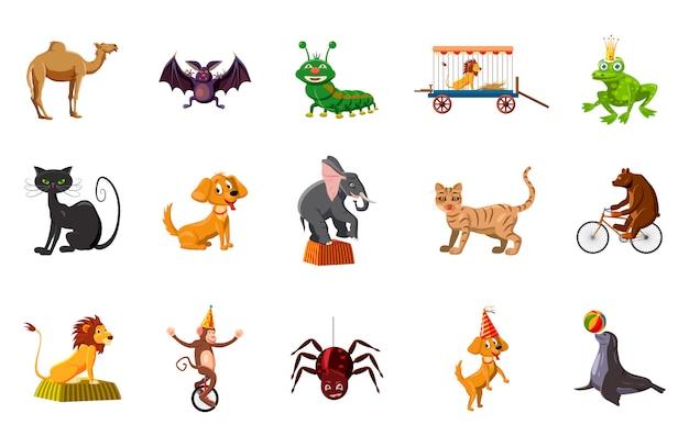 Conjunto de elementos de animais. conjunto de desenhos animados de animais