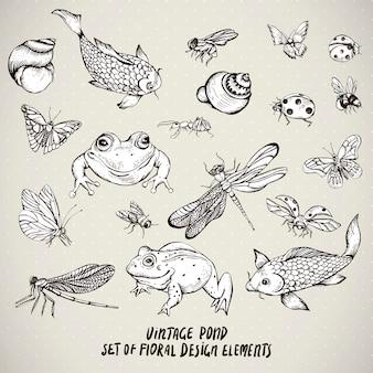 Conjunto de elementos de animais de água vintage lagoa