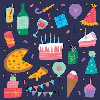 Conjunto de elementos de aniversário bonito mão desenhada