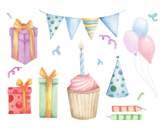 Conjunto de elementos de aniversário doodles
