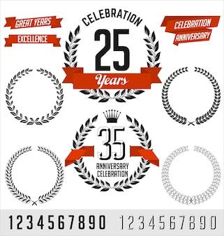 Conjunto de elementos de aniversário. preto com fita vermelha.