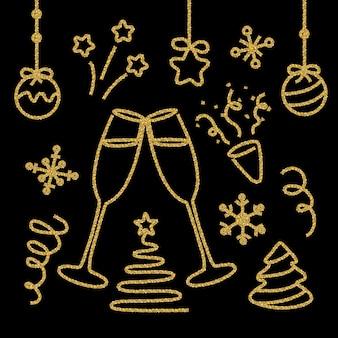 Conjunto de elementos de ano novo glitter dourados em preto