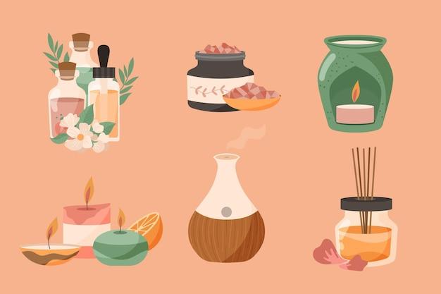 Conjunto de elementos de aromaterapia desenhados à mão plana