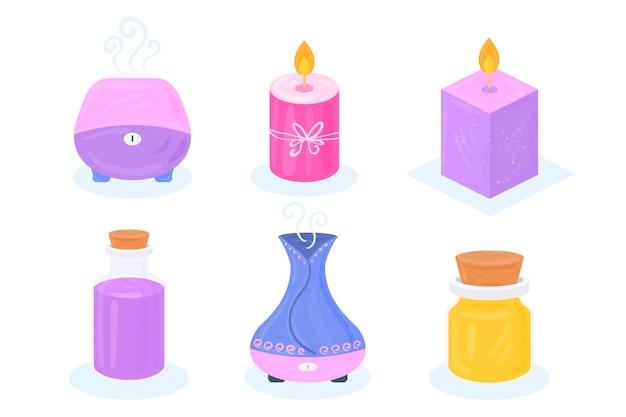 Conjunto de elementos de aromaterapia desenhados à mão