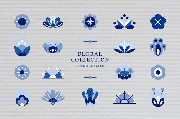 Conjunto de elementos de arte popular azul